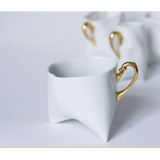 Coffee cup - unique coffee mug or tea cup white with gold, contemporary ceramic cup handmade by Endesign